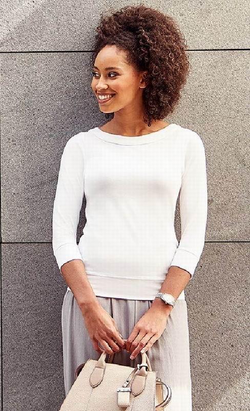 0b56a0a96e3 elegantní dámské tričko s 3 4 rukávem a lodičkovým výstřihem